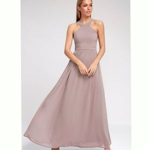 New Lulus Air of Romance Taupe Maxi Dress